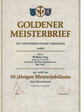 Meisterbrief Wilhelm Jörg